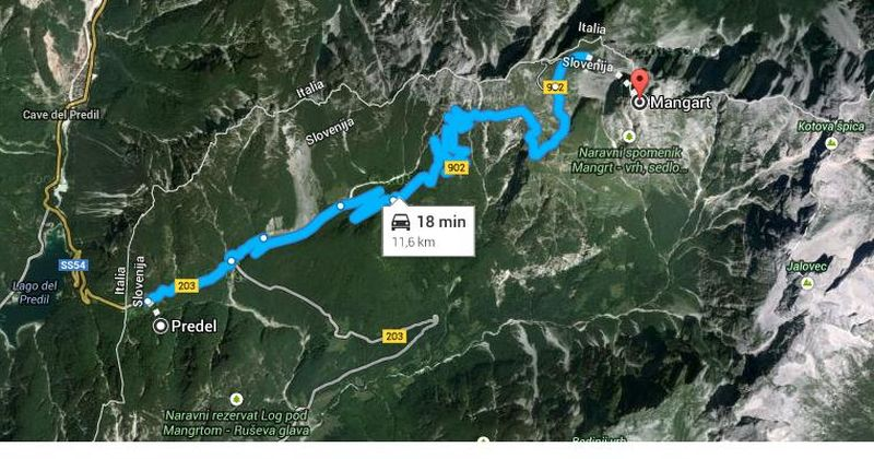 Pot Predel - Mangart (tekaške rolke, kolesarji, tekači)