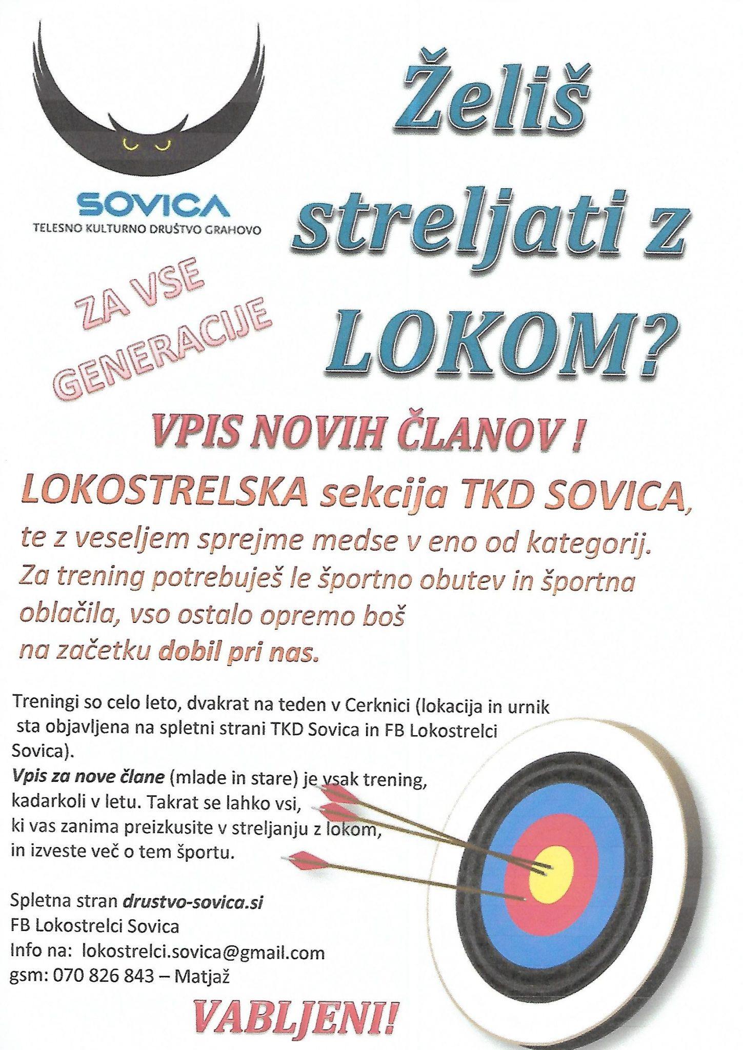 vabilo jpg - Lokostrelci smo začeli s treningi v športni dvorani Cerknica
