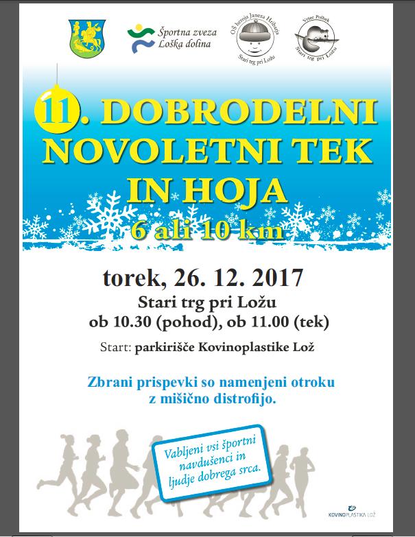 Plakat 2017 Dobrodelni novoletni tek in hoja 1 - 11. Dobrodelni novoletni tek in hoja