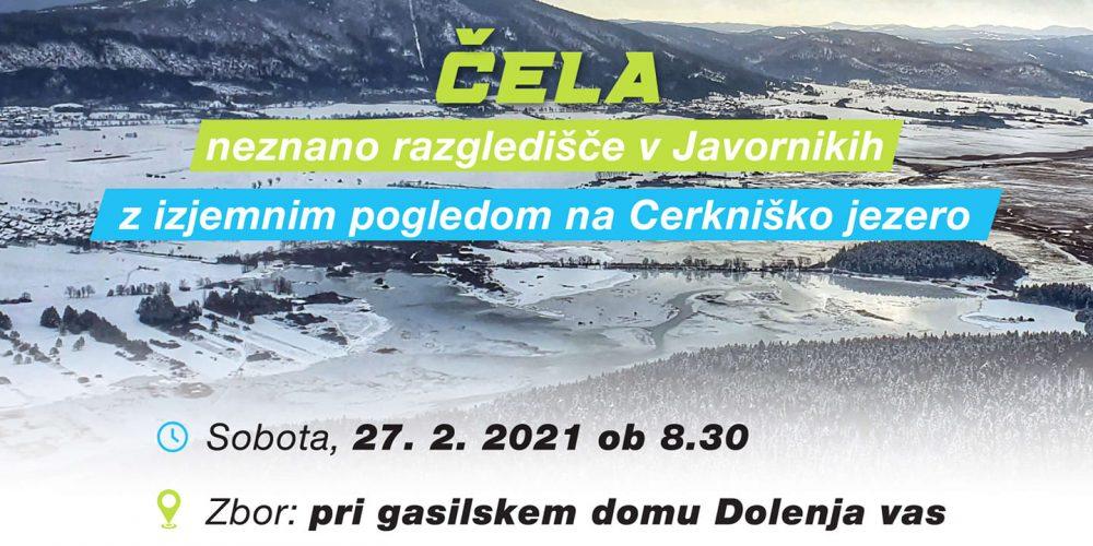 Pohod na Čela (1.000m) – izjemno razgledišče v Javornikih, 27.2. ob 8:30